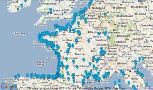 mapa Playas donde ir de vacaciones en Francia